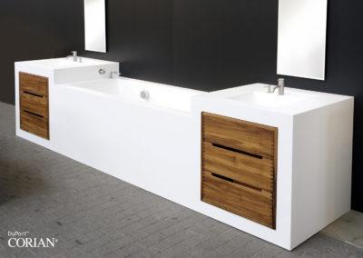 doppio lavabo bagno corian