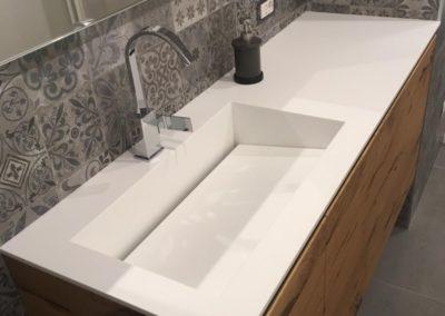 Lavabo bagno corian con fondo inclinato removibile